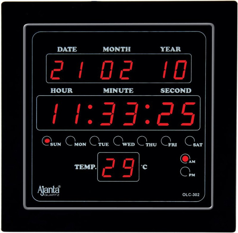 Ajanta Digital Wall Clock(Black, With Glass)