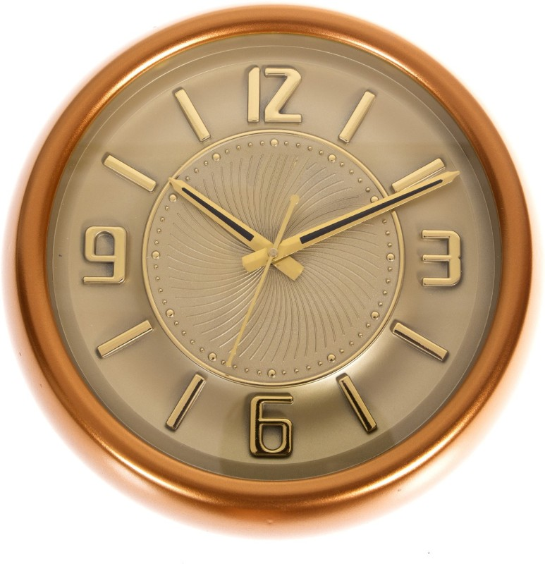 Smile2u Retailers Analog Wall Clock(Golden, Orange, With Glass)