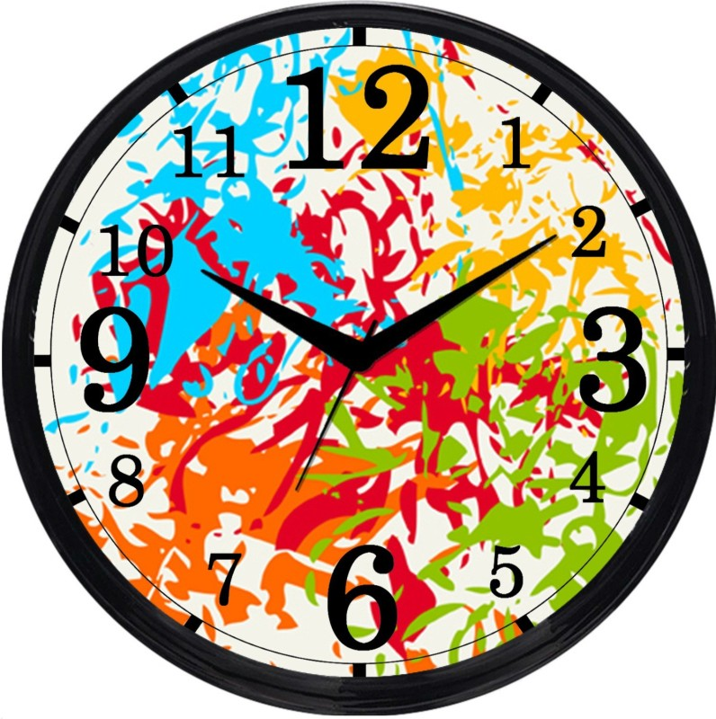 Cartoonpur Analog 28 cm Dia Wall Clock(Black, With Glass) CPRB11504