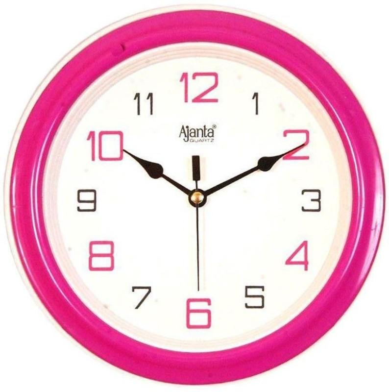 Ajanta Analog Wall Clock(Pink, With Glass)