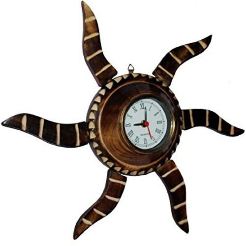 Desi Karigar Analog Wall Clock(Brown, With Glass) Wall Clock