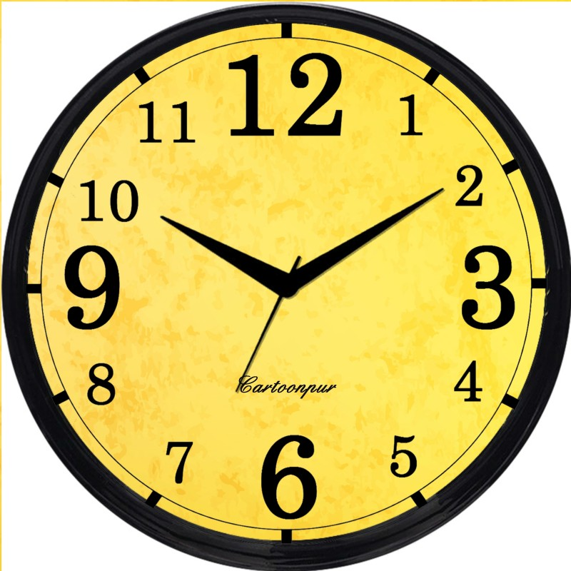 Cartoonpur Analog 28 cm Dia Wall Clock(Black, With Glass) CPRB11492