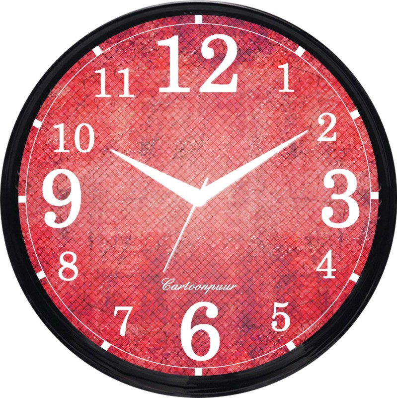 Cartoonpur Analog 28 cm Dia Wall Clock(Black, With Glass) CPRB11489