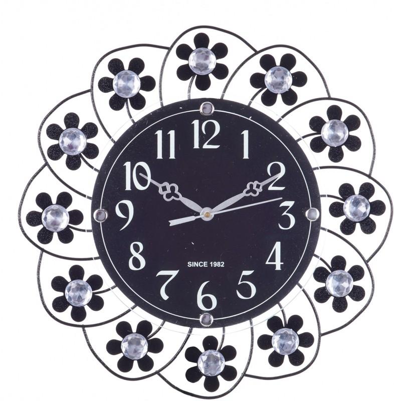 eCraftIndia Analog 35 cm X 35 cm Wall Clock(Black, With Glass)