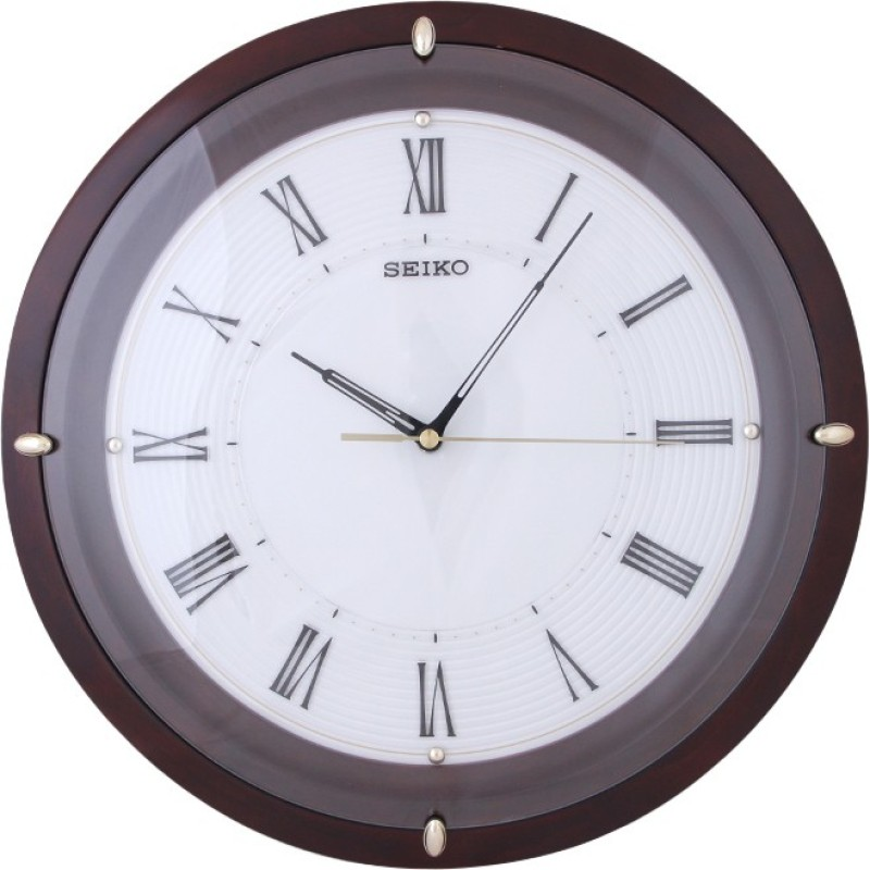 Seiko Analog 35 cm X 35 cm Wall Clock(Brown, With Glass)