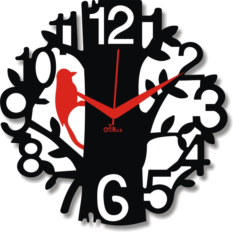 2 O'Clock Analog 41 cm X 41 cm Wall Clock(Black, Red, Without Glass)