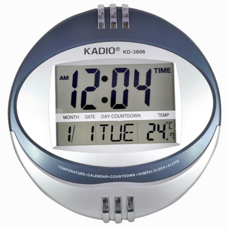 kadio-digital-wall-clockblue-silver-without-glass