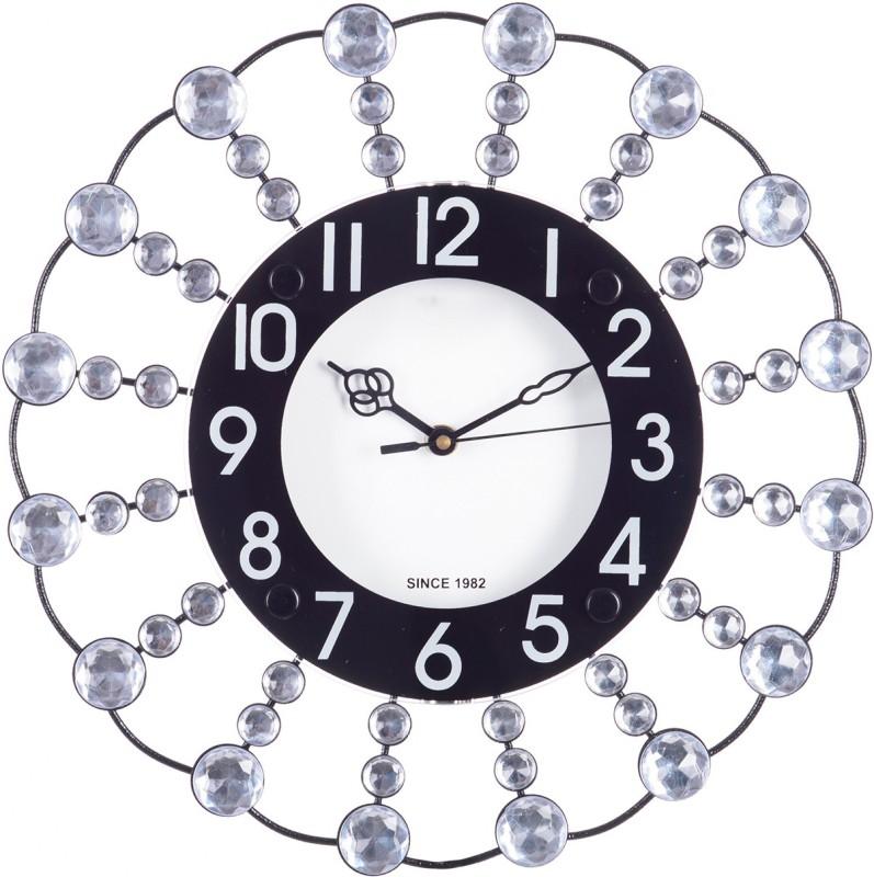 eCraftIndia Analog 31 cm X 31 cm Wall Clock(Black, With Glass)
