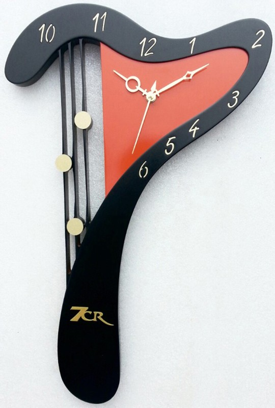7CR Analog Wall Clock(Black Orange, Without Glass)