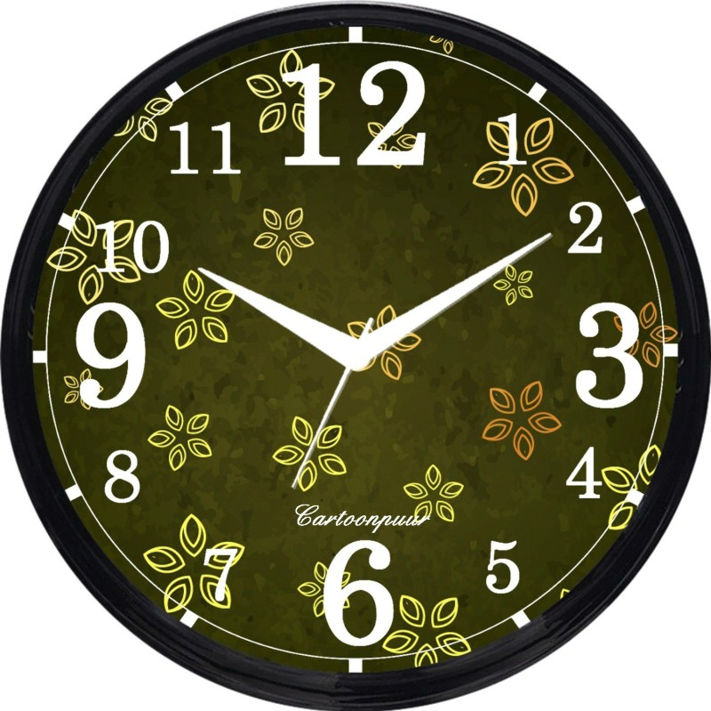 Cartoonpur Analog 28 cm Dia Wall Clock(Black, With Glass) CPRB11509