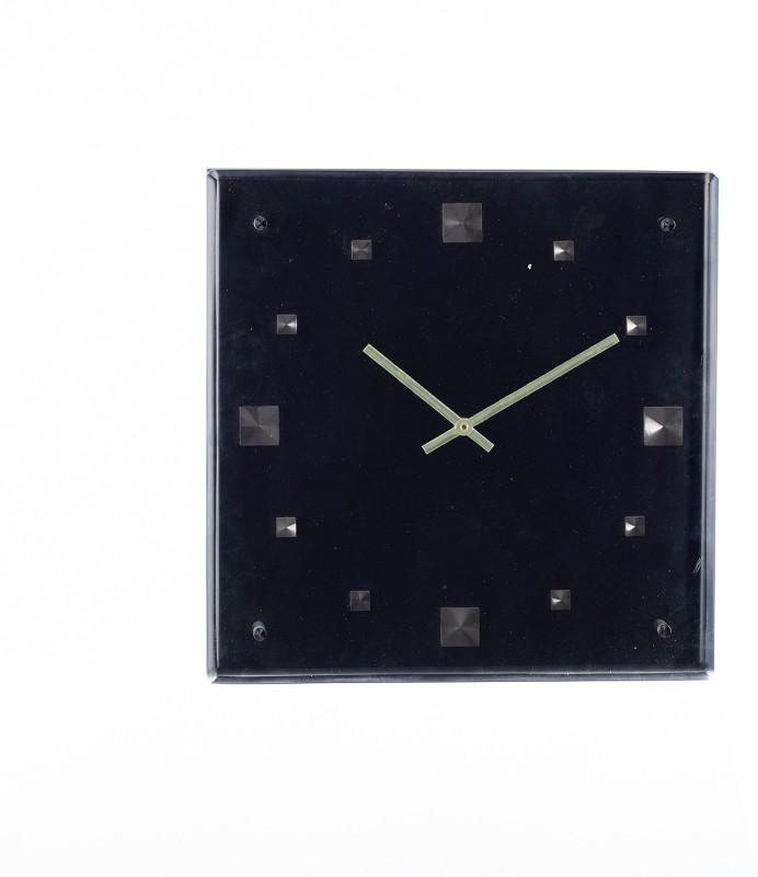 eCraftIndia Analog 33 cm X 33 cm Wall Clock(Black, With Glass)