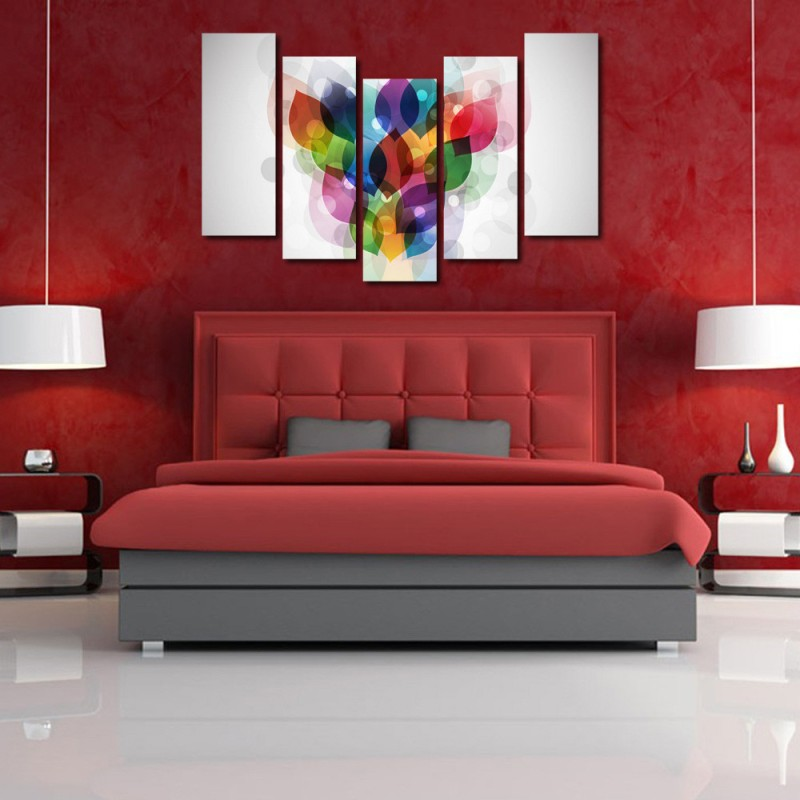 999 Store Multiple Frames Printed Colors like Modern Wall Art Painting - 5 Frames (148 X 76 Cms)(Multicolor)