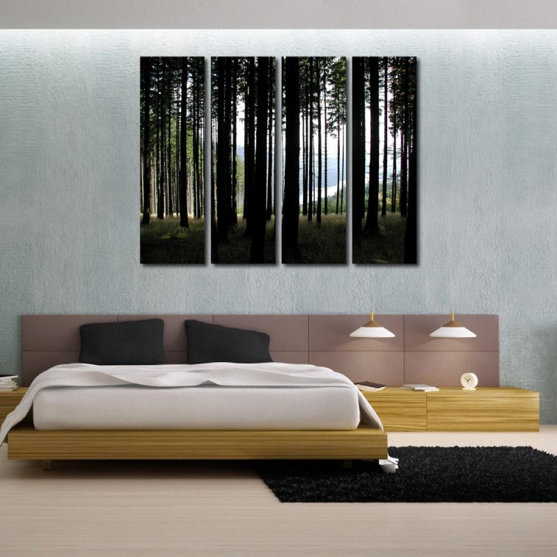 999 Store Multiple Frames Printed Multiple Tree Ice like Modern Wall Art Painting - 4 Frames (127x76 Cm)(Multicolor)