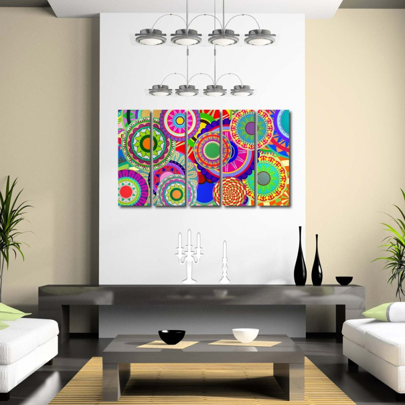 999 Store Multiple Frames Printed Colourful Circles like Modern Wall Art Painting - 5 Frames (148 X 76 Cms)(Multicolor)