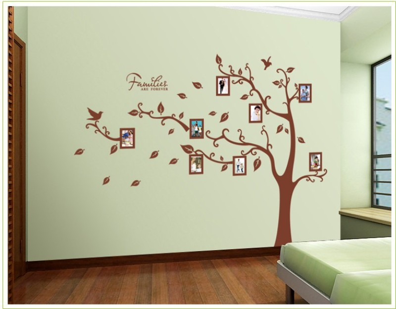 Oren Empower 2pc/set (Double Sheet) Extra Large Tree wall sticker with photo frames(160 cm X cm 216, Brown)