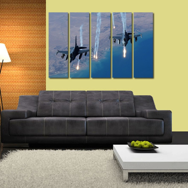 999 Store Multiple Frames Printed Flying Fighter Planes like Modern Wall Art Painting - 5 Frames (148 X 76 Cms)(Multicolor)