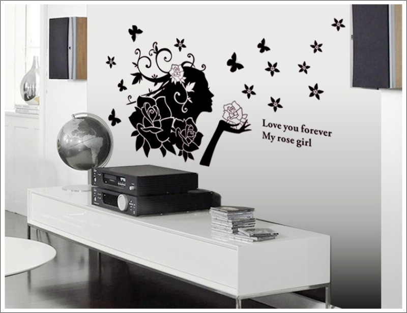 Oren Empower Cute lady with attractive black flowers expressing love large wall art sticker(71 cm X cm 140, Black)
