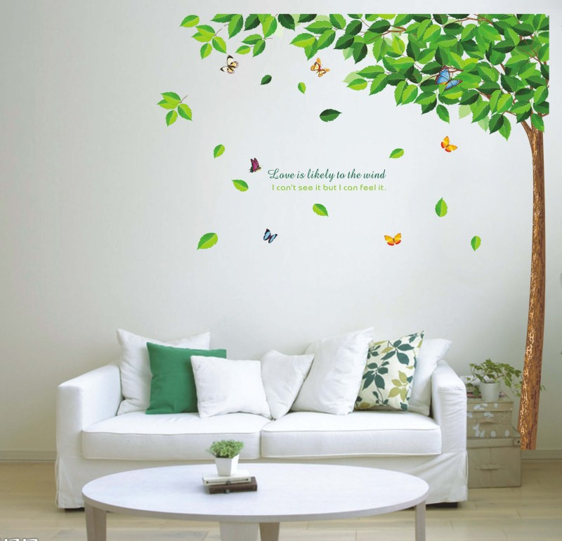 Oren Empower Wind tree large wall sticker(180 cm X cm 130, Green)