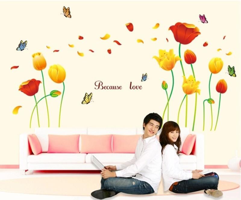 Oren Empower Beautiful Love Flower with Butterflies large wall sticker(100 cm X cm 170, Orange, Yellow)