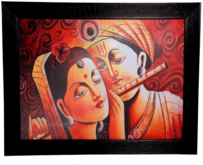 HRINKAR Lord Krishna Wall Decor Printed (Photo Size 9 w X 12 H inch) Painting Frame - FRM15(Multicolor)