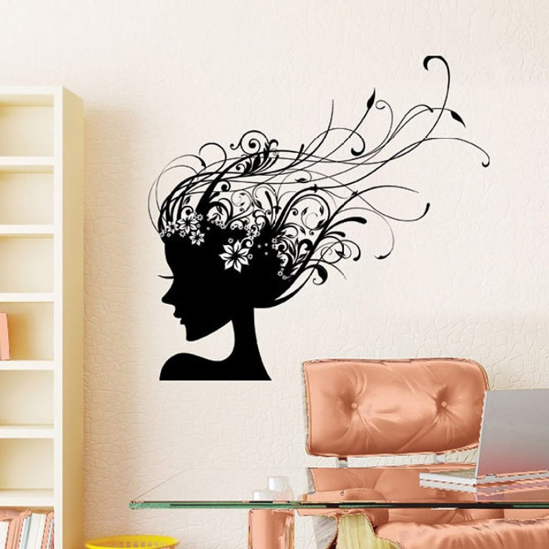 Happy walls Lady With Floral Vines Hair Do(60 cm X cm 90, Black)