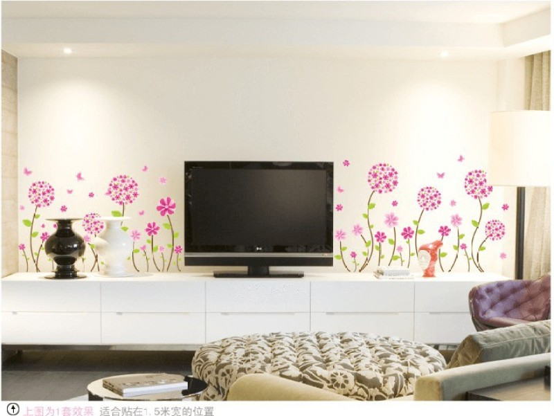 Oren Empower Charming pink flower large wall sticker(50 cm X cm 150, Pink, Green)