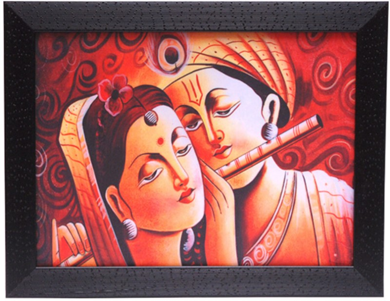 HRINKAR Lord Krishna Wall Decor Printed (Photo Size 12 w X 9 H inch) Painting Frame- FRM24(Multicolor)