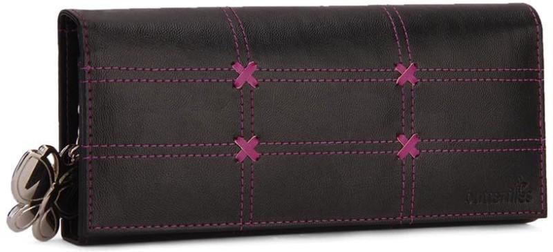 Butterflies Women Casual, Formal Black Artificial Leather Wallet(5 Card Slots)