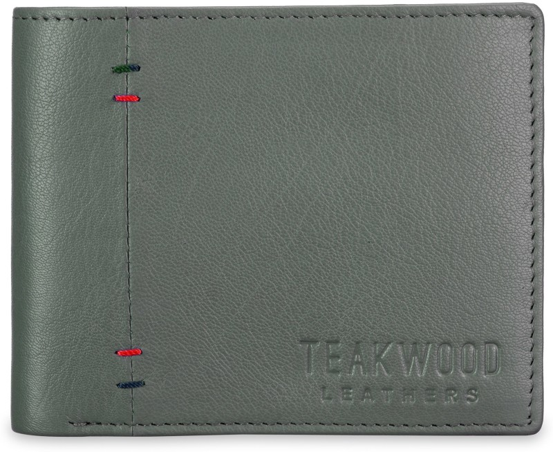 Teakwood Men Blue Genuine Leather Wallet(4 Card Slots)