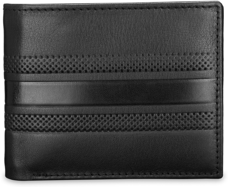 Teakwood Men Black Genuine Leather Wallet(8 Card Slots)