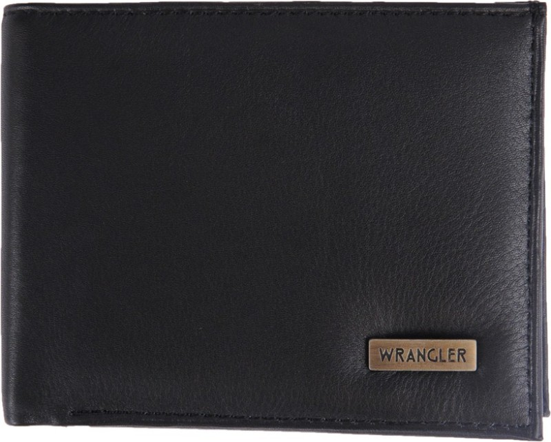 Wrangler Men Black Genuine Leather Wallet(3 Card Slots)