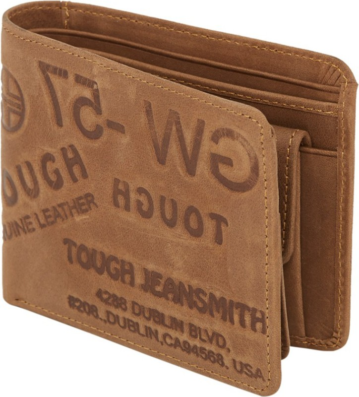 Walletsnbags Men Beige Genuine Leather Wallet(6 Card Slots)
