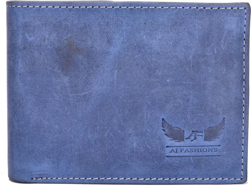AJ Fashions Men Blue Genuine Leather Wallet(9 Card Slots)