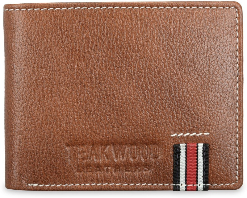 Teakwood Men Tan Genuine Leather Wallet(2 Card Slots)