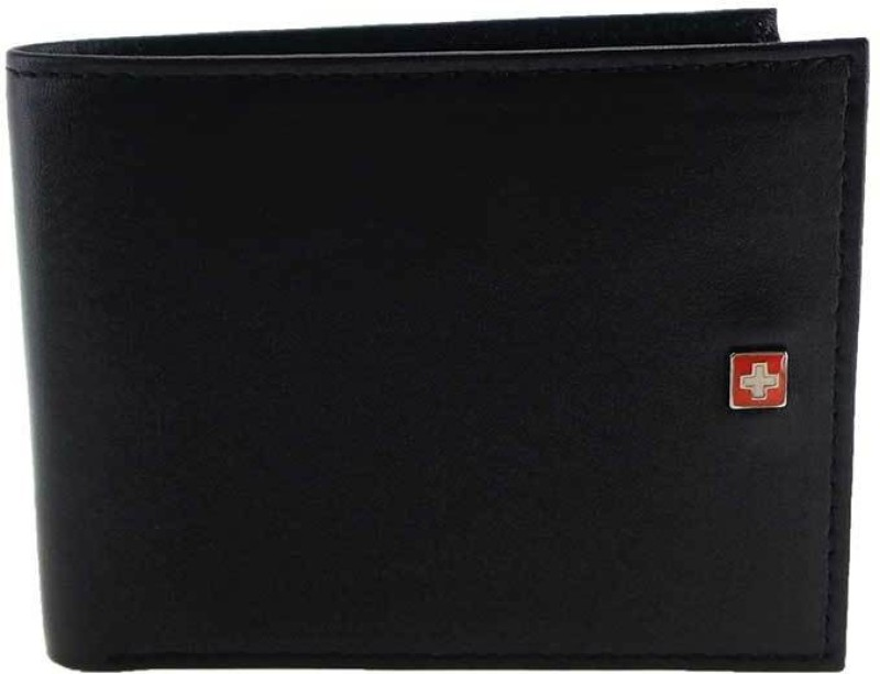 Swiss Military Men Black Genuine Leather Wallet(7 Card Slots)