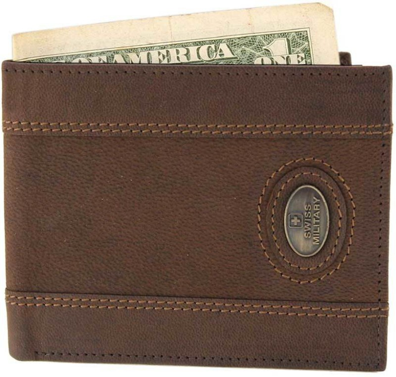 Swiss Military Men Brown Genuine Leather Wallet(7 Card Slots)
