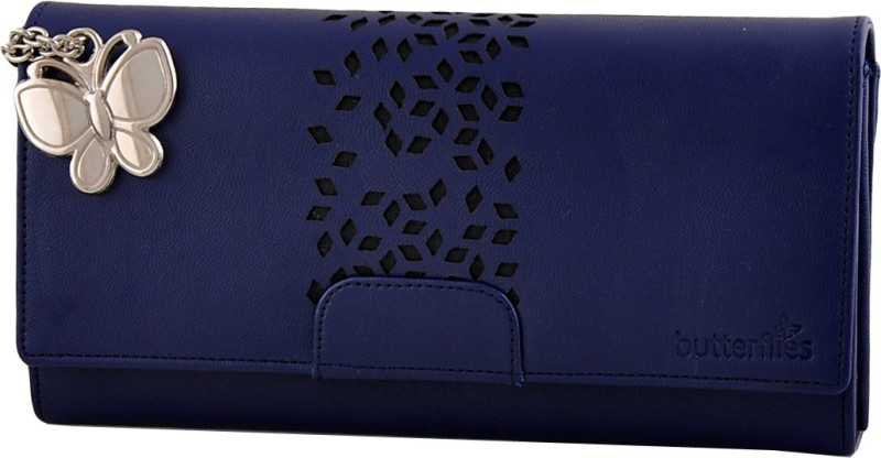 Butterflies Casual Blue Clutch