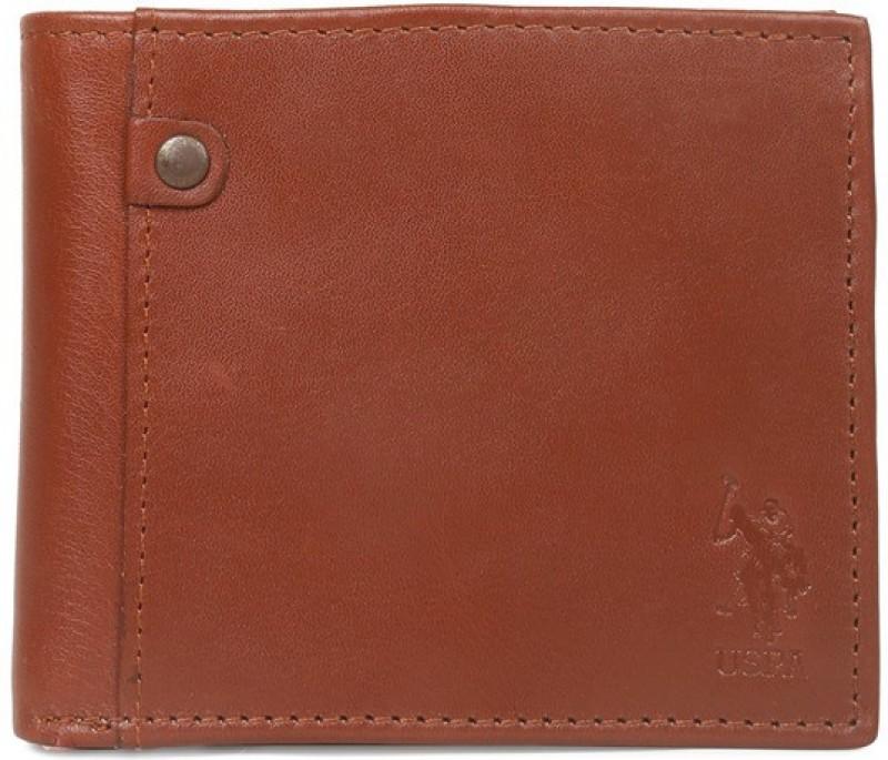 U.S. Polo Assn Men Tan Genuine Leather Wallet(10 Card Slots)