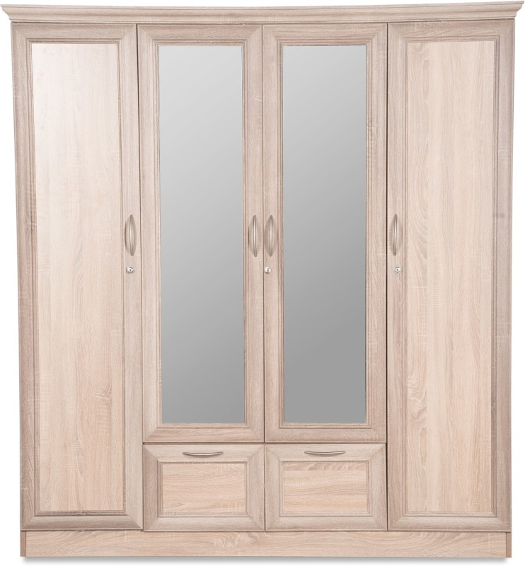Godrej Interio Eudora N15 Engineered Wood 4 Door Wardrobe(Finish Color - Sonoma Oak, Mirror Included)