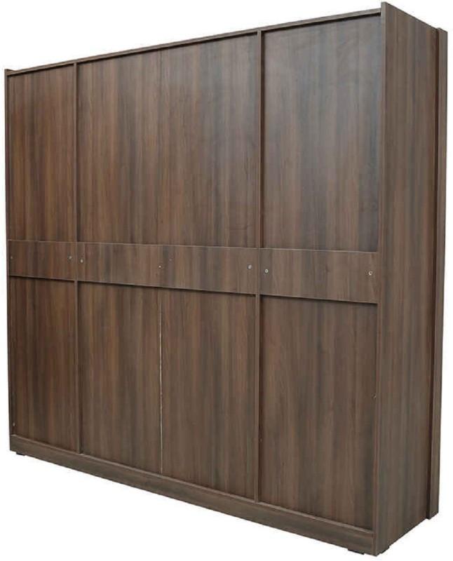 RAWAT SERIES 36 Engineered Wood 4 Door Wardrobe(Finish Color - MALDAU ACACIA DARK CARCASE & WHITE TEXTURED DOORS)