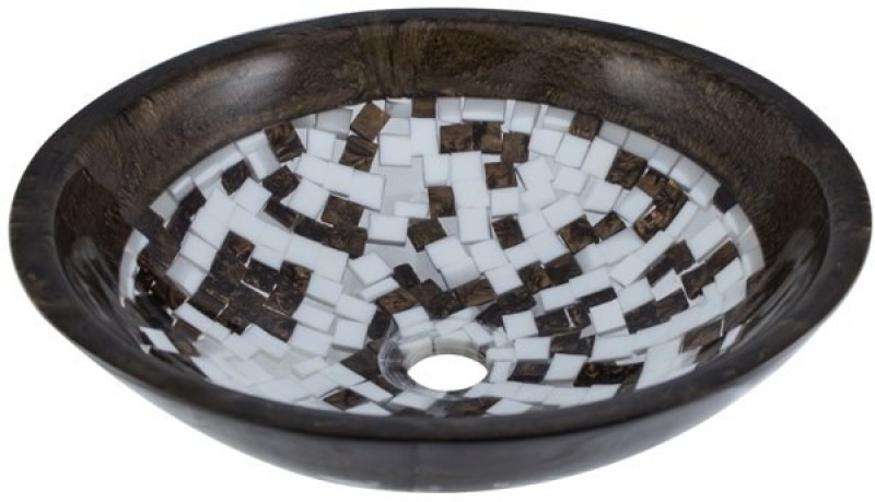 MUDIT Resin M19 Table Top Basin(Brown, White)