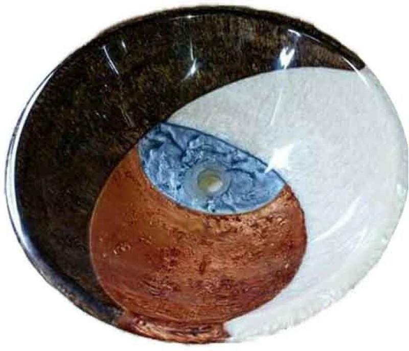 Mudit Resin M13 Table Top Basin(Brown, White, Blue)