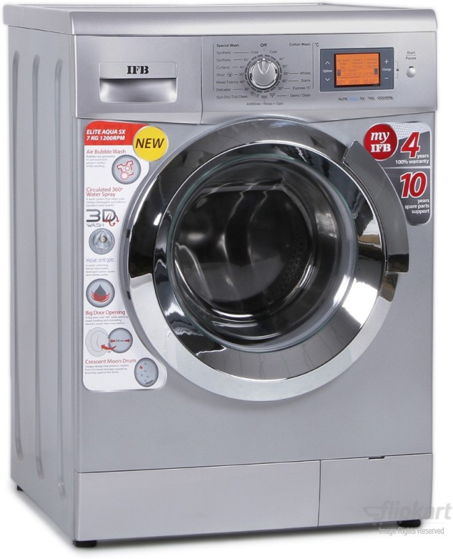 IFB 7 kg Fully Automatic Front Load with In-built Heater Silver(Elite Aqua SX)