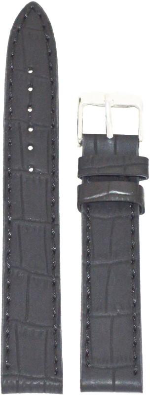 Kolet Croco Matte Finish 18B 18 mm Leather Watch Strap(Black)