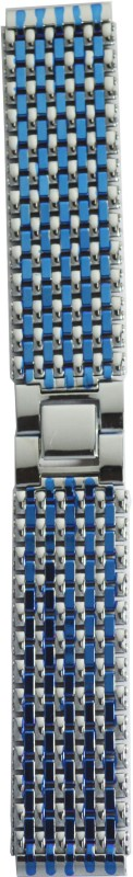 Kolet Ion plated 20 mm Stainless Steel Watch Strap(Silver, Blue)
