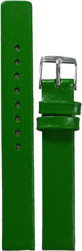 Kolet Glossy Finish GR 14 mm Leather Watch Strap(Green)