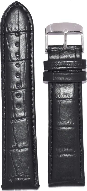Kolet Croco U18 18 mm Leather Watch Strap(Black)
