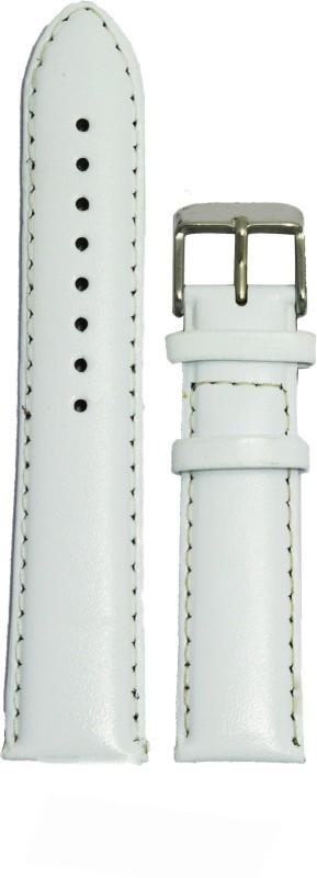 Kolet Padded 24W 24 mm Leather Watch Strap(White)