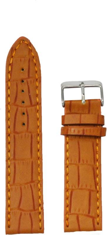 Kolet Croco Matte Finish 24` 24 mm Leather Watch Strap(Tan)