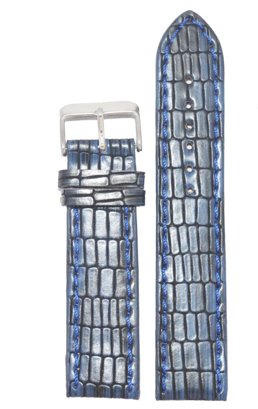 Kolet Texture Reptile 20BU 20 mm Leather Watch Strap(Blue)